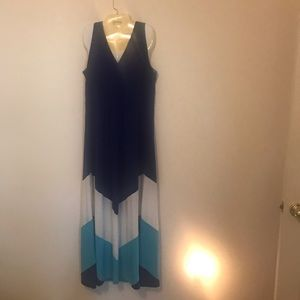 Maxi Sleeveless Dress Navy Blue/Turquoise/White.